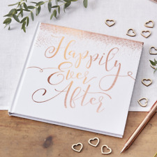 ROSE GOLD WEDDING DAY GUEST BOOK - Rose Gold Text - Happily Ever After