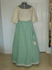 Renaissance Outfit - Lady's Skirt/blouse/cap - Green & Cream - Med/Lge