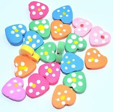 20pcs assorted heart wood beads 14mm ideal for children jewels