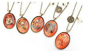 NEW Vintage Horoscope Star Pendant Necklace Zodiac Signs  Gift