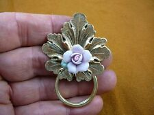 (E-730) leaf with purple porcelain rose Eyeglass pin pendant ID badge holder