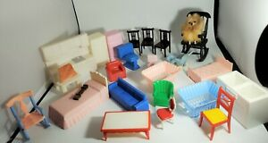 Vintage Plastic Doll House Furniture (24 Pieces -1950s)