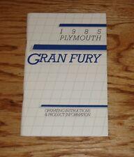 Original 1985 Plymouth Gran Fury Owners Operators Manual 85