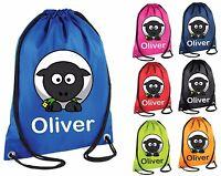 Personalised Sheep Gym Bag Swim Nursery Drawstring School PE Kit Sports Kids