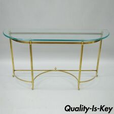 """Brass and Glass Top Sofa Table Hall Entry Console French Labarge Style 54"""" L Vtg"""