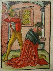 BEHEADING SAINT JOHN the BAPTIST DUTCH INCUNABLE WOODCUT PASSIONAEL 1505 J07