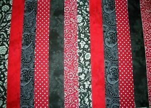 """12 JELLY ROLL STRIPS   44"""" X 2.5"""" RED & BLACK 100% COTTON PATCHWORK/QUILT RBK"""