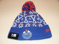 New Era Cap Hat Toque Beanie Pom Knit Christmas Sweater Edmonton Oilers Hockey