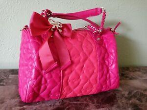 Betsey Johnson Pink Heart Leather Gold Chain Purse Handbag