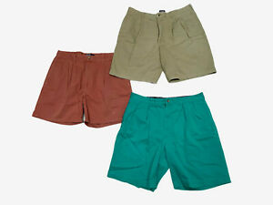 Lot of 3 Chino Shorts Men's 34 - Polo Ralph Lauren Izod Green Red Beige Pleated
