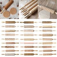 Weihnachtsmuster aus Holz Nudelholz Gravierte Elch Präge Teigroller Geschenk DE