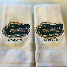 Set of 2 Embroidered  Hand Towels with a Fla Gator and Custom Name