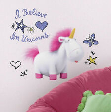 DESPICABLE ME 3 wall stickers 10 decals I BELIEVE IN UNICORNS with glitter decor