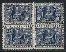 US #330 5¢ blue, Block of 4, fresh og, NH Scott $1,400.00