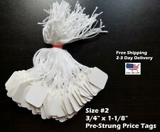 Size 2 Small Blank White Merchandise Price Tags With String Retail Jewelry Strung