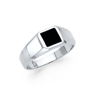 Solid 14k White Gold Square Onyx Ring Men Band Black Plain Design Polished Fancy