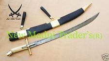 "38"" DAMASCUS BONE & BRASS CROSS GUARD HANDLE TATAR SWORD WITH WOODEN SCABBARD"