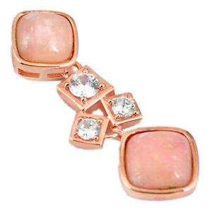 Elegant Natural Pink Opal Topaz 925silver 14k Rose Gold Pendant C14113