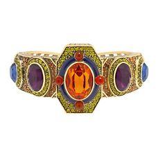 """NIB $170 HEIDI DAUS """"Classically Modern"""" Byzantine Crystal Cuff Bracelet M/L"""