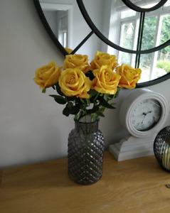 Artificial Flowers 6 Single Long Stem Roses in Mustard Yellow