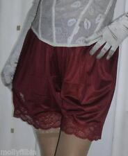 Estilo Vintage burdeos Sedoso nailon Escudete Bragas Francesas Falda pantalón