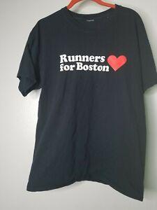 Mens L Runners For Boston Memorial Marathon T Shirt