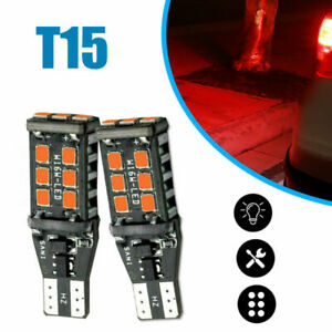 2pcs T15 912 921 Flash Strobe Red Car LED High Mount Stop 3RD Brake Light Bulbs