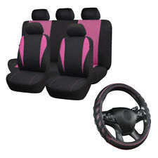 Pink Car Seat Covers Universal & Pink Car Steering Wheel Cover Auto Accessories