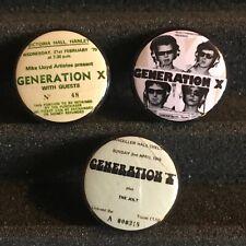 GENERATION X Concert Poster Ticket Stub Button Pin Back Badge Punk (Set Of 3)