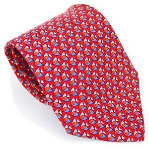 Salvatore Ferragamo Red Blue Fish All Over Print 100% Silk Neck Tie Italy