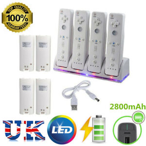 For Nintendo Wii Game Charger Charging Dock Station + 4 pcs Rechargeable Battery