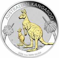 2020 KANGAROO GILDED 1oz Silver Proof Coin