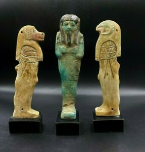 Old Ancient Antique Egyptian Faience Ushabti Figures Sculpture Antiquities