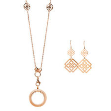 Origami Owl Rose Gold Greek Key Locket, Chain, Earrings Hostess Exclusive Set