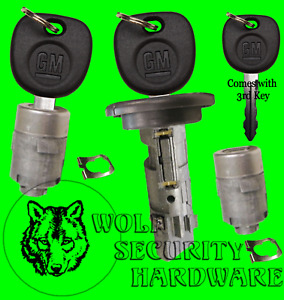 Escalade Hummer OEM Ignition Key Switch Lock Cylinder & Door Pair Set 3 GM Keys