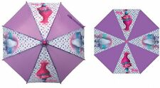 100% Dreamworks Trolls Umbrella Girls Kids Childrens Pink Purple Brollie NEW