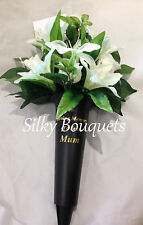 BASIC RANGE! Artificial Silk Flower Lily Grave Crem Spike Vase White Memorial