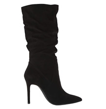 Jessica Simpson Women's Lyndy Microsuede Pointed Toe Mid-Calf - Black - Size 11