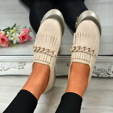 LADIES WOMENS SLIP ON TRAINERS CHAIN FRINGE SNEAKERS COMFY SHOES SIZES
