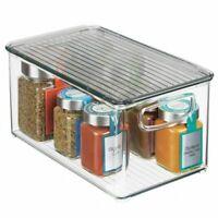 mDesign Plastic Kitchen Food Storage Bin with Handles, Lid
