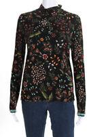 Aldomartins Womens Floral Print Turtleneck Tee Shirt Black Size Medium 11492552