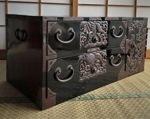 Antique Japanese Furniture Wood Isho Dansu Shonai Tansu Black lacquered L.34inch