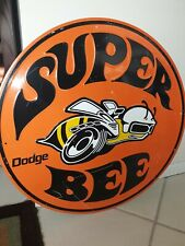"Dodge Super Bee 12"" Embossed Round Metal Circle Sign Used with character Rare"