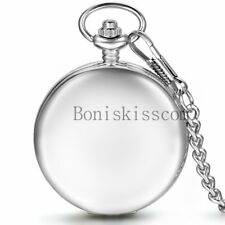 Personalized Engraved Photo Glossy Hand-winding Mechanical Skeleton Pocket Watch