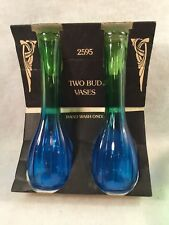 Vintage Jeannette Green & Blue Depression Glass Bud Vases Set of 2