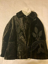Antique Women'S Black Velour Fancy Embroidered Cape with Collar - Size Medium