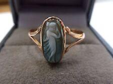 Edwardian 9ct Rose Gold Green Hard Stone Cameo Ring Size P 1/2  1912
