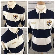 Polo by Ralph Lauren Crest Blue & White Thick Stripe LS Rugby Polo Shirt Size M