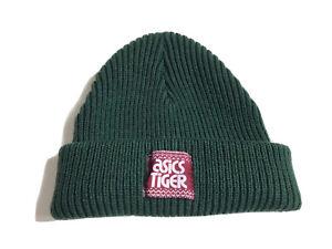 ASICS TIGER Green Beanie One Size Hat Knit WARM Winter