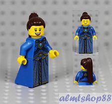 LEGO - Female Minifigure w/ Blue Dress & Dark Brown Hair Princess Girl Castle